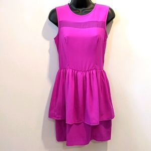 H&M sleeveless fushia peplum dress sz 6